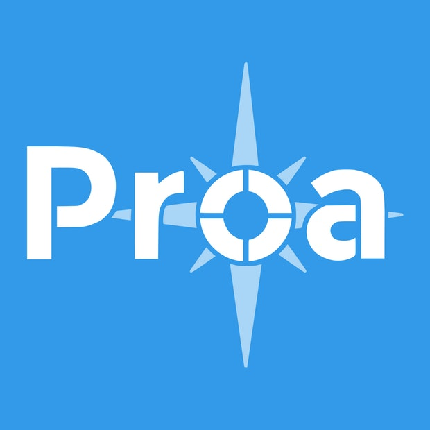 Proa new logo white on blue